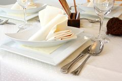 Elegantly Decorated table in restaurant Stock Images