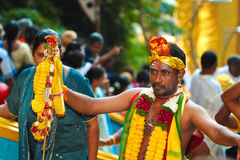 An elegantly decorated Thaipusam pilgrim at Batu Cave Royalty Free Stock Photography