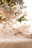Elegantly lit holiday table Stock Image