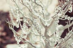 Elegantly tasteful decorated with crystals wedding decorate tree, summer, vintage, glamor.  Royalty Free Stock Image