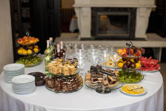Elegantly tastefully decorated buffet of delicious sweets, drink Stock Photos