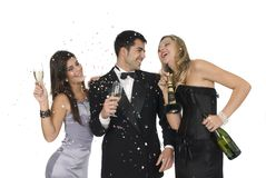Elegants friends at a new year party. Group of elegants friends at a new year party Royalty Free Stock Images