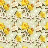 Elegantt fjädra blom- seamless mönstrar Royaltyfri Fotografi