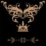 Elegantt guld- inramar banret med krönar, blom- beståndsdelar på eller vektor illustrationer