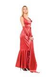 elegantt isolerat rött barn för blond klänning royaltyfri foto