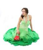 elegantt kvinnabarn för härlig klänning royaltyfri fotografi