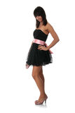 elegantt kvinnabarn för svart klänning royaltyfria bilder