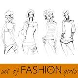 elegantt mode illustrerade inställda modeller stock illustrationer