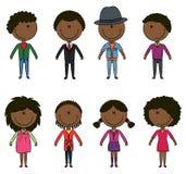 elegantt modernt folkbarn för afrikansk amerikan royaltyfri illustrationer