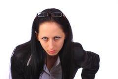 elegantt se för ilsken affärskvinna ungt royaltyfri fotografi
