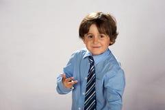 elegantt tieslitage för pojke Fotografering för Bildbyråer