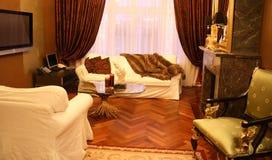 elegantt vardagsrum Fotografering för Bildbyråer