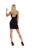 Eleganz-blonde Frau, die hintere Ansicht zeigt Stockfotografie