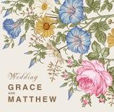 Eleganz romantisches Innersymbol auf einem warmen Hintergrund Schöne Blumen Petunien-Kamillen-Rosen-Karte Feld, Aufkleber Vektor  Stockbild
