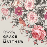 Eleganz romantisches Innersymbol auf einem warmen Hintergrund Schöne Blumen Petunien-Kamillen-Rosen-Karte Feld, Aufkleber Vektor  Stockbilder