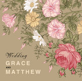 Eleganz romantisches Innersymbol auf einem warmen Hintergrund Schöne Blumen Petunien-Kamillen-Rosen-Karte Feld, Aufkleber Vektor  Stockfotos