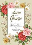 Eleganz romantisches Innersymbol auf einem warmen Hintergrund Schöne realistische Blumen Kamillen-Rosen-Karte Feld, Aufkleber Vek Stockfoto