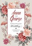 Eleganz romantisches Innersymbol auf einem warmen Hintergrund Schöne realistische Blumen Kamillen-Rosen-Karte Feld, Aufkleber Vek Stockfotografie