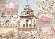 Eleganza misera di stile d'annata del collage con gli elementi di vecchia città, dettagli architettonici scolpiti, fiori rosa, sc Immagini Stock Libere da Diritti