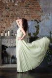 Eleganzfrau im langen beige Kleid profil Stockfotos
