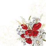 Eleganzhintergrund mit Mohnblumeblumen Stockfotografie