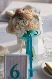 Eleganztabelle gegründet für die Heirat im Türkis Stockbild