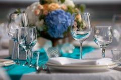 Eleganztabelle gründete für die Heirat im Restaurant Lizenzfreies Stockfoto