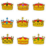 Elegent crown style doodle collection Royalty Free Stock Images