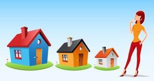 Elegir una casa ilustración del vector