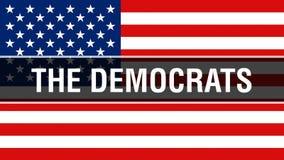 A eleição de Democratas em um fundo dos EUA, rendição 3D Bandeira de Estados Unidos da América que acena no vento Votação, liberd ilustração do vetor