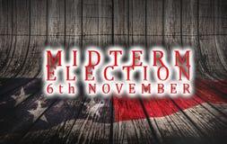 Eleição dia 6 de novembro de 2018 com fundo do conceito da bandeira americana dos E.U. ilustração do vetor