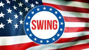 Eleição em um fundo dos EUA, do balanço rendição 3D Bandeira de Estados Unidos da América que acena no vento Votando, democracia  ilustração do vetor