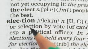 Eleição, lápis que aponta a palavra no vocabulário no inglês, votação democrática livre filme