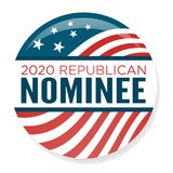 Eleição Pin Button de 2020 campanhas ou crachá com estrelas patrióticas ilustração royalty free