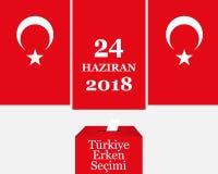 Eleições em Turquia 2018 Turco: Eleição adiantada 24 de junho de 2018 Urna de voto e símbolo turco da bandeira Imagens de Stock