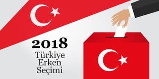 Eleições em Turquia 2018 Turco: Eleição adiantada 2018 Urna de voto e símbolo turco da bandeira Imagens de Stock Royalty Free