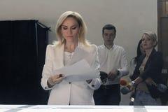 Eleições Romênia Gabriela Firea Imagens de Stock Royalty Free