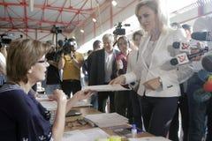 Eleições Romênia Gabriela Firea Fotografia de Stock