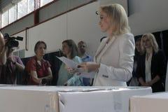 Eleições Romênia Gabriela Firea Fotografia de Stock Royalty Free