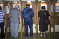 Eleitores e cabines de votação Fotografia de Stock