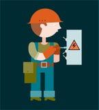 Elektricien die een elektropaneel herstellen Stock Fotografie
