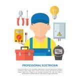 Elektricien met elektromateriaal en hulpmiddelen vector illustratie