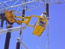 Elektricien op kersenplukker Royalty-vrije Stock Foto