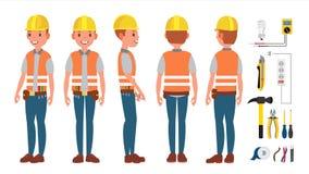 Elektricien Worker Male Vector Maakt Elektromateriaal Verschillend stelt De Illustratie van het beeldverhaalkarakter vector illustratie