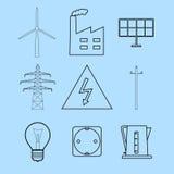 Elektriciteit en energetica geplaatste pictogrammen Stock Fotografie
