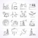 Elektriciteit en energiebronpictogrammen Stock Afbeeldingen