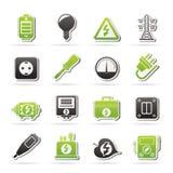 Elektriciteit, machts en energiepictogrammen Royalty-vrije Stock Afbeelding