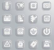 Elektriciteits eenvoudig pictogrammen Stock Afbeeldingen