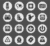 Elektriciteits eenvoudig pictogrammen Royalty-vrije Stock Foto's