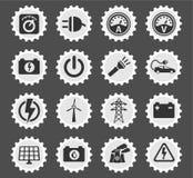 Elektriciteits eenvoudig pictogrammen Stock Afbeelding